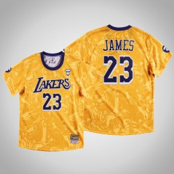 Lakers LeBron James & 23 AAPE x Mitchell Ness Swingman Klassische Jersey Gold-