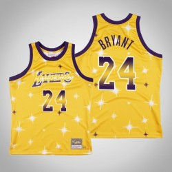 Männer Lakers Kobe Bryant & 24 Gold-Airbrush Knit Swingman Mitchell & Ness Klassische Jersey