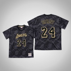 Lakers Kobe Bryant & 24 Black Toile Mesh-schwarzes T-Shirt