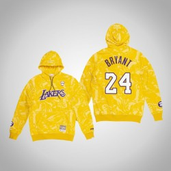 Lakers Kobe Bryant & 24 AAPE x Mitchell Ness Camo PulloverHoodie Gold-