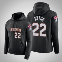 Phoenix Suns & 22 Deandre Ayton Stadt Schwarz 2020 Jahreszeit PulloverHoodie