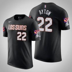 Phoenix Suns & 22 Deandre Ayton Stadt Schwarz 2020 Saison Name & Nummer T-Shirt