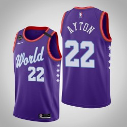 Phoenix Suns Deandre Ayton & 22 2020 NBA Rising Star World Team Lila Jersey