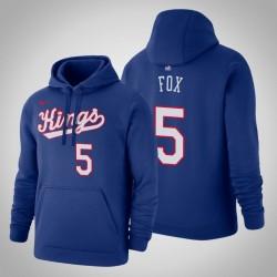 Sacramento Kings & 5 De'Aaron Fox Holz Classics Blau 2020 Jahreszeit PulloverHoodie