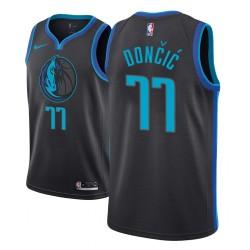 Männer NBA 2018-19 Luka Doncic Dallas Mavericks und 77 Stadt Ausgabe Anthrazit Trikot