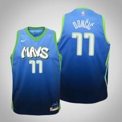 Jugend Luka Doncic Mavericks # 77 City Blue 2020 Jahreszeit Trikot