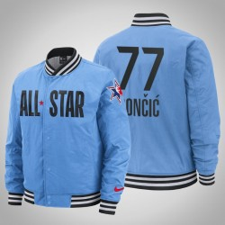 Herren Luka Doncic Mavericks # 77 Blau 2020 NBA All-Star Game Western Conference Courtside in voller Schnapp Jacke