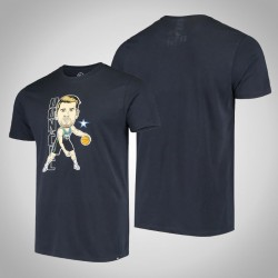 Mavericks Luka Doncic # 77-Spieler-grafische Bobblehead Marine-T-Shirt