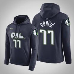 Dallas Mavericks und 77 Luka Doncic Stadt Navy 2020 Saison PulloverHoodie