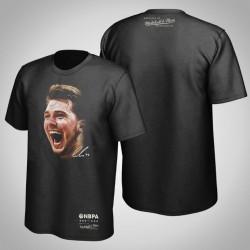 Mavericks Luka Doncic # 77 Real Big Gesicht Hartholz-Klassiker T-Shirt Schwarz