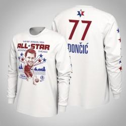 Mavericks Luka Doncic # 77 2020 NBA All-Star Weekend Spieler-Grafik-Langarmshirt Weiß T-Shirt