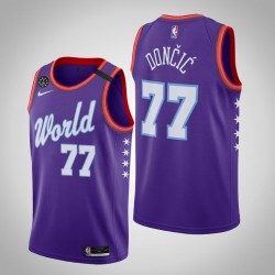 Dallas Mavericks Luka Doncic & 77 2020 NBA Rising Star World Team Lila Jersey