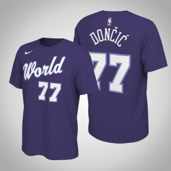 Dallas Mavericks Luka Doncic & 77 2020 NBA Rising Star World Team Name & Nummer Lila T-Shirt