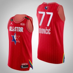 Western Conference Dallas Mavericks Luka Doncic & 77 2020 NBA All-Star Game Authentic Red Jersey