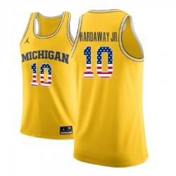 Tim Hardaway Jr. Männer NCAA Michigan Wolverines # 10 Gold Stars and Stripes Basketball Performance-Trikot