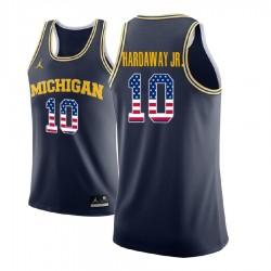Tim Hardaway Jr. Männer NCAA Michigan Wolverines # 10 Marine-Sternenbanner Basketball Performance-Trikot