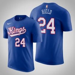 Sacramento King & 24 Buddy Hield Holz Classics König 2020 Saison Name & Nummer T-Shirt