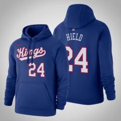 Sacramento Kings & 24 Buddy Hield Holz Classics Blau 2020 Jahreszeit PulloverHoodie