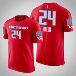 Sacramento Kings & 24 Buddy Hield Stadt Red 2020 Saison Name & Nummer T-Shirt