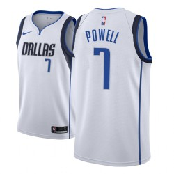 Männer NBA 2018-19 Dwight Powell Dallas Mavericks und 7 Verband Weiß Jersey