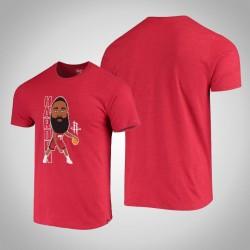 Rockets James Harden & 13 Spieler-Grafik Bobblehead melierte Rot-T-Shirt