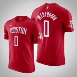 Männer Russell Westbrook Houston Rockets # 0 verdient Red Name # Nummer T-Shirt
