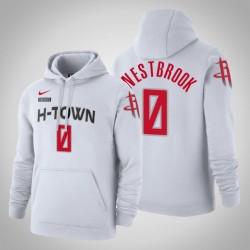 Houston Rockets # 0 Russell Westbrook Stadt Weiß 2020 Saison PulloverHoodie
