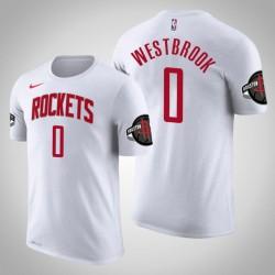 Houston Rockets # 0 Russell Westbrook Verband Weiß 2020 Saison Name # Nummer T-Shirt