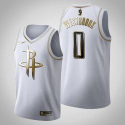 Houston Rockets Russell Westbrook # 0 Golden Edition Weiß Trikot