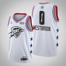 2019 NBA All-Star-Männer Oklahoma City Thunder Russell Westbrook # 0 Weiß Swingman Trikot