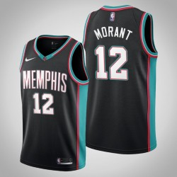 Grizzlies Ja Morant # 12 Schwarz 20. Saison Throwbacks Trikot