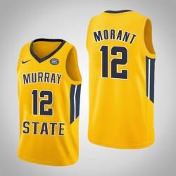 Männer Ja Morant NCAA Murray State Racers # 12 Gelbe Authentic College Basketball Trikot