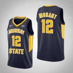 Männer Ja Morant NCAA Murray State Racers # 12 Navy Authentic College Basketball Trikot