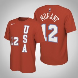 Memphis Grizzlies Ja Morant & 12 2020 NBA Rising Star USA Team-Name und Nummer orange T-Shirt