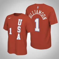 New Orleans Pelicans Zion Williamson # 1 2020 NBA Rising Star USA Team-Name und Nummer orange T-Shirt