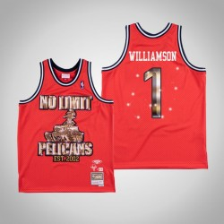 Zion Williamson # 1 Red No Limit x New Orleans Pelicans Swingman Mitchell Ness Limited Trikot
