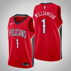 Männer New Orleans Pelicans Zion Williamson # 1 Red Swingman Trikot 2019-20 Statement