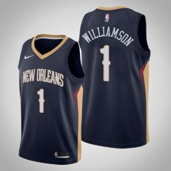 Männer New Orleans Pelicans Zion Williamson # 1 Navy Swingman Trikot 2019-20 Icon