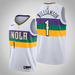 Männer New Orleans Pelicans Zion Williamson & 1 Weiß Swingman Jersey 2019-20 Stadt