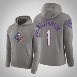 New Orleans Pelicans # 1 Zion Williamson Stadt Heather Grey 2020 Jahreszeit PulloverHoodie