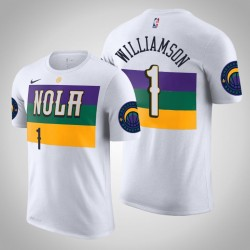New Orleans Pelicans & 1 Zion Williamson Stadt Weiß 2020 Saison Name & Nummer T-Shirt