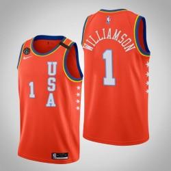 New Orleans Pelicans Zion Williamson & 1 2020 NBA Rising Star USA Mannschaft-orange Jersey