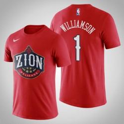 Männer New Orleans Pelicans Zion Williamson & 1 2019 NBA Draft Red Name & Nummer T-Shirt