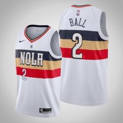 Männer New Orleans Pelicans Lonzo Ball & 2 White Swingman 2019-20 verdient Jersey