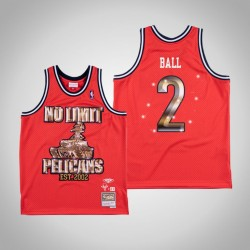Lonzo Ball & 2 Red No Limit x New Orleans Pelicans Swingman Mitchell Ness Limited Jersey