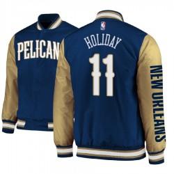 Herren Jrue Holiday New Orleans Pelicans und 11 Navy Satin Voll Snap-Jacke