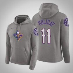 New Orleans Pelicans & 11 Jrue Holiday City Heather Grey 2020 Jahreszeit PulloverHoodie