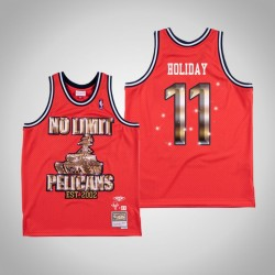 Jrue Holiday & 11 Red No Limit x New Orleans Pelicans Swingman Mitchell Ness Limited Jersey