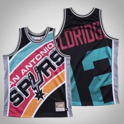 Herren Spurs LaMarcus Aldridge & 12 Schwarz Big Gesicht Hartholz Classics Jersey