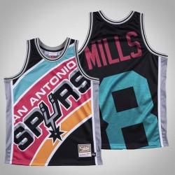 Männer Spurs Patty Mills & 8 Black Big Gesicht Hartholz Classics Jersey